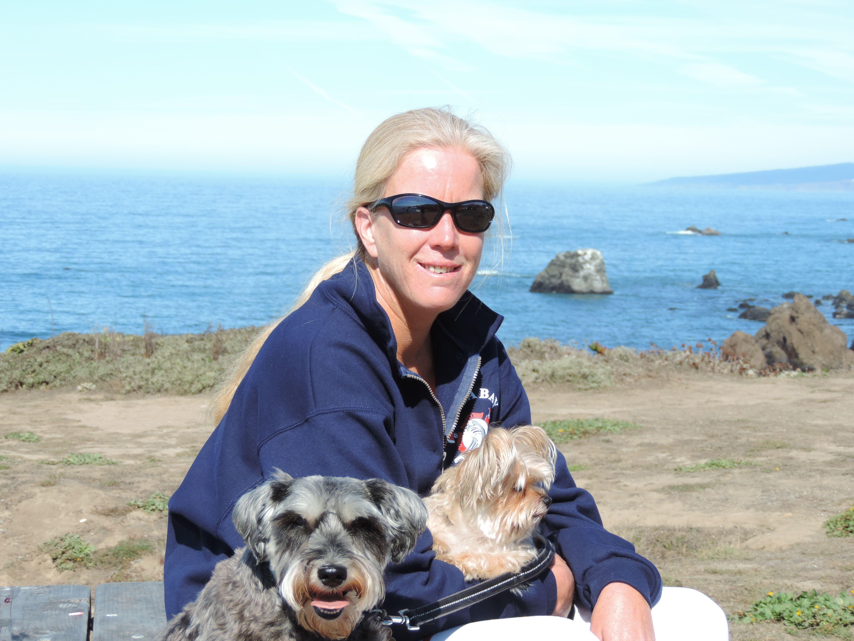 Aunt Alyson with the pups at Bodega Bay. Bodega bay