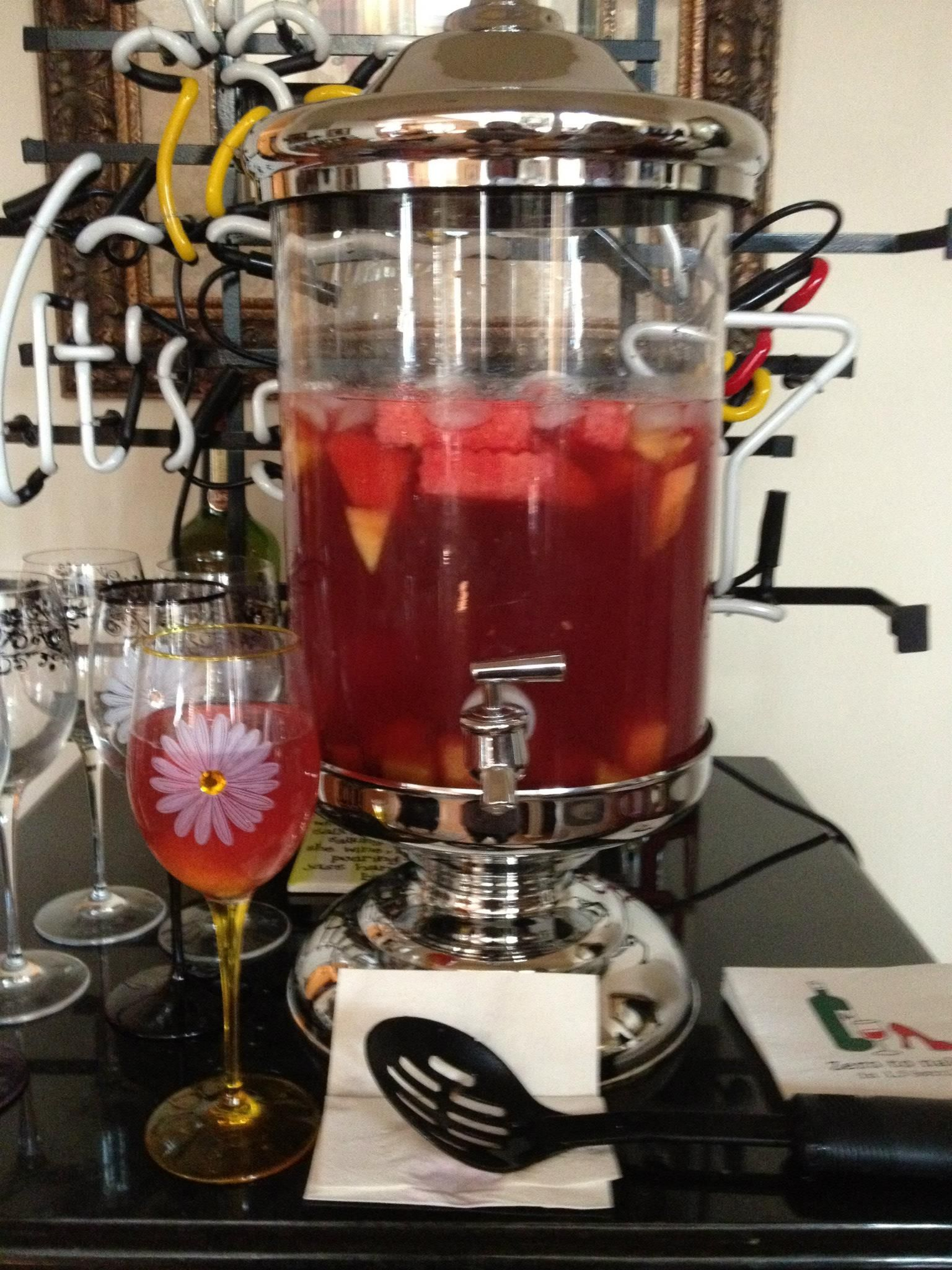 Watermelon and Dragon Fruit Sangria. 1 bottle rose wine, 1 bottle white wine, 1 2 liter bottle sprite, 1 2 liter bottle lemonade, 1c sugar, 1c dragon fruit vodka, various fruit cut into chunks- including watermelon. I also like blueberries and pineapple. The watermelon flavor really comes through. If it is too sweet, add more wine or liquor to taste.