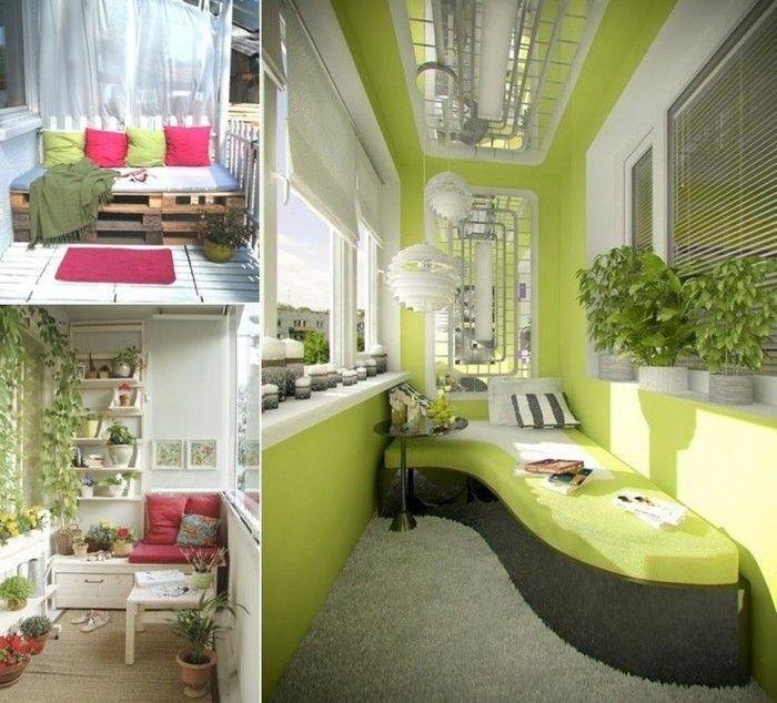 Balkongestaltung Grüne Wände Grauer Plüschteppich Grüne Couch Schwarzer