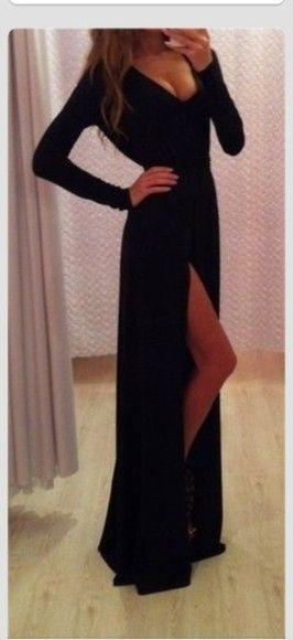 Long Black Dress With Split Down The Leg Gorgeous For A Black Tie