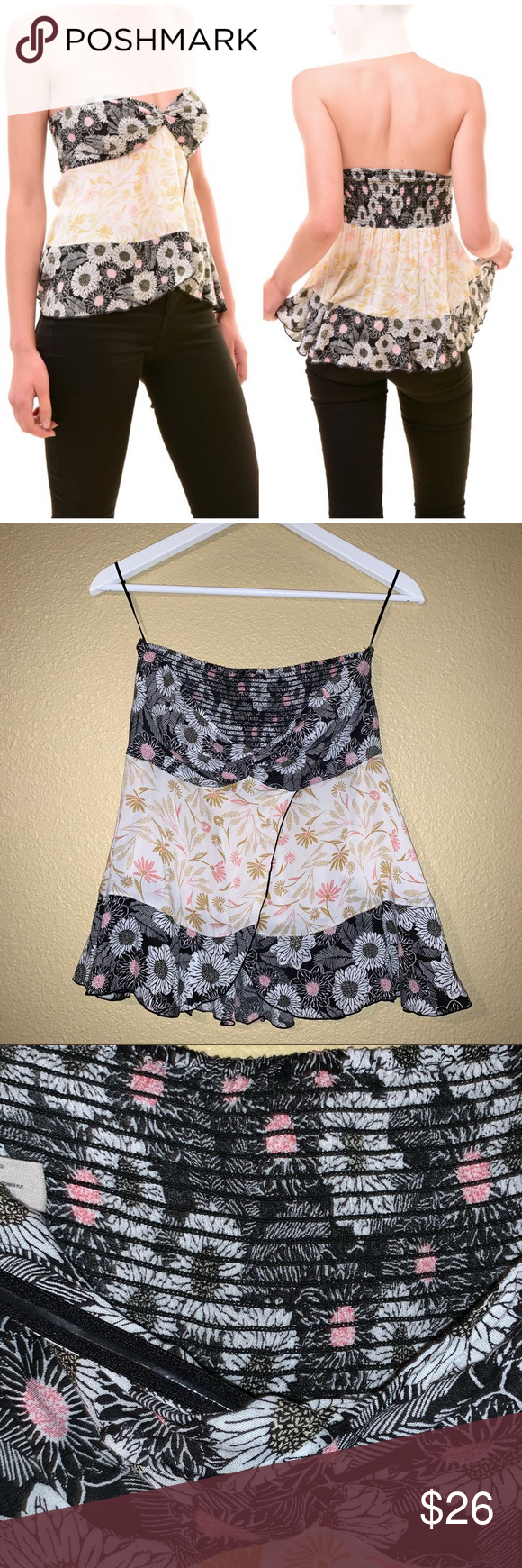 22945bcfb8 Free People Intimately Floral Strapless Top Free People Intimately Floral  Boho Strapless Tube Top Layered Two