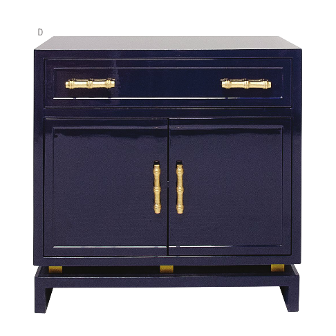 World Away Marcus Lacquer Cabinet Navy With Gold Handles | Matthew ...