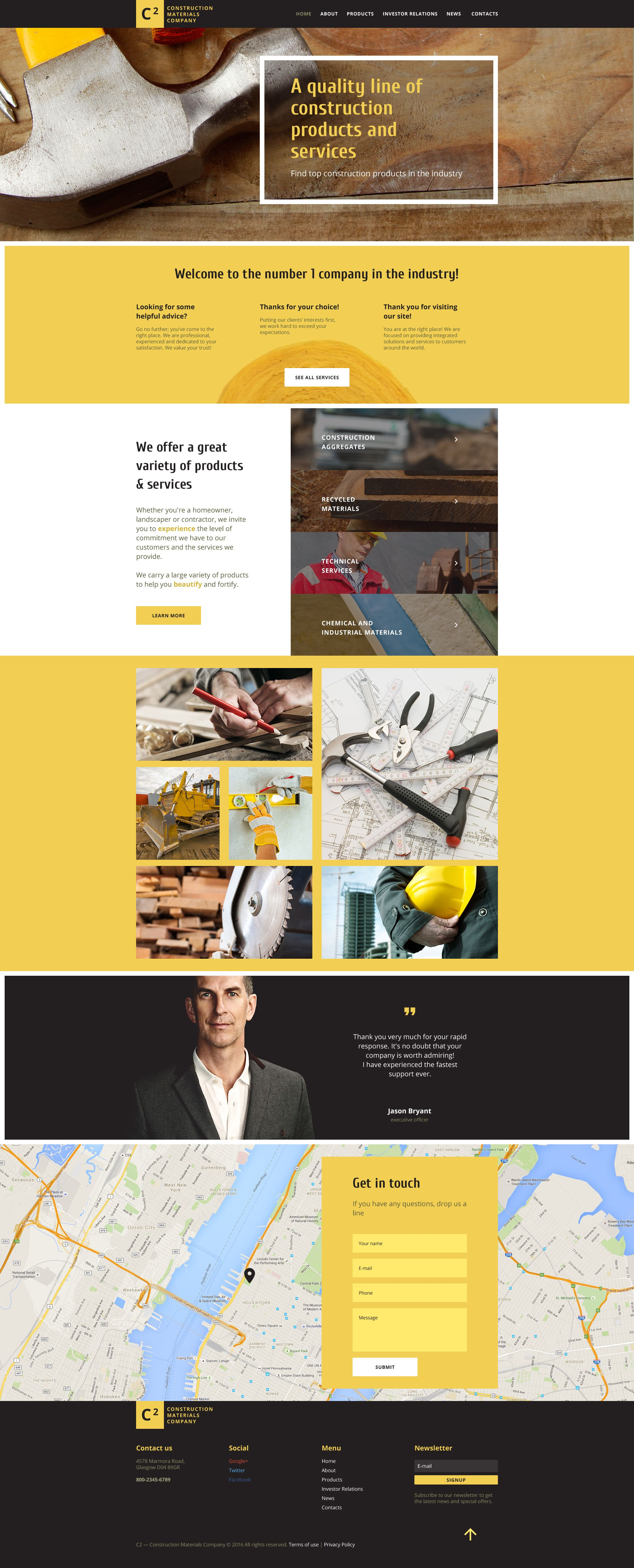 Website Template Construction Materials Company Website Template  Construction