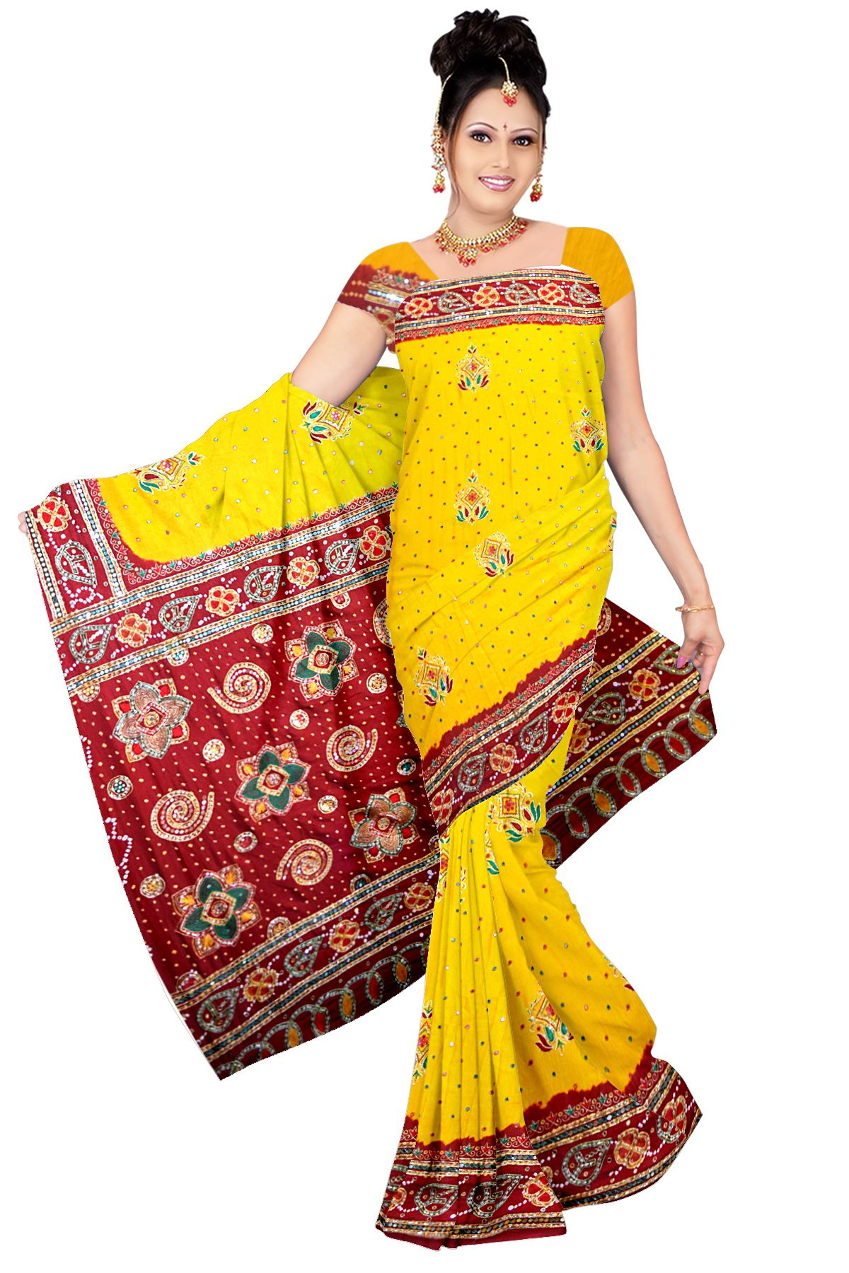 8b36eccc9e6d7 Kala Sanskruti Pure Gaji Silk Yellow And Red Colore Bandhani Saree Material