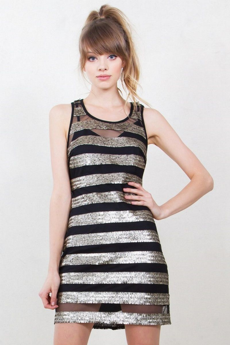Gilded stripes dress black mesh and gold sequin stripe dress that is