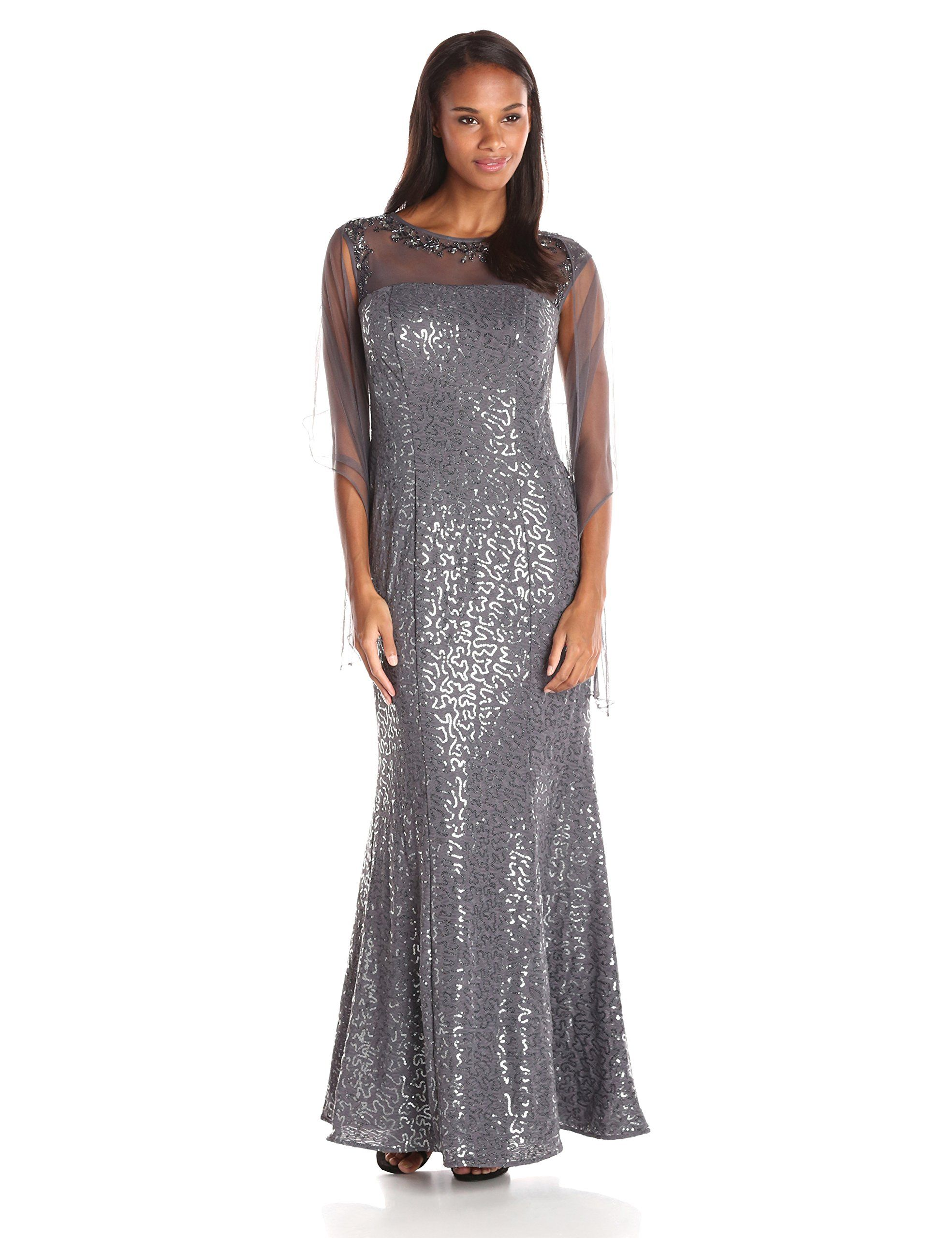 Ignite womenus illusion mesh embellished sequined evening gown