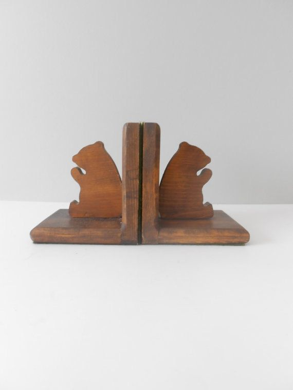 Set Of 2 Wood Teddy Bear Bookends Baby Nursery Decor Hmm Think Between Jason And Myself We Can Make Something Similar