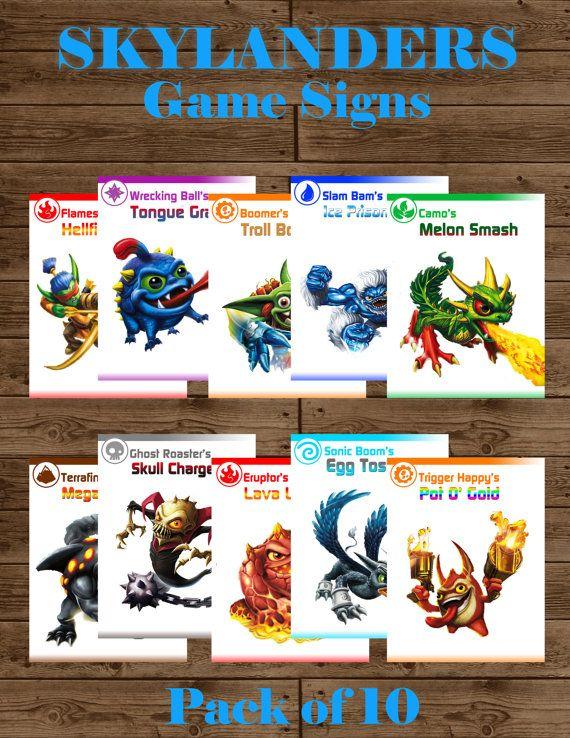 Skylanders Giants Printable Game Signs INSTANT DOWNLOAD
