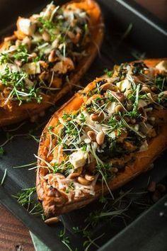 Gefüllte Süßkartoffel mit Spinat und Feta #vegetarischerezepte