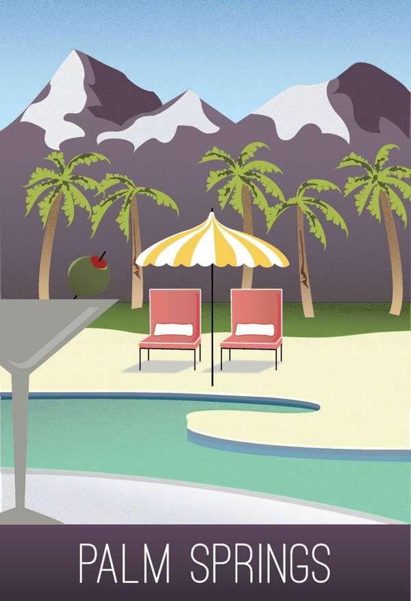 Palm Springs Vintage Travel Poster On Behance Vintage