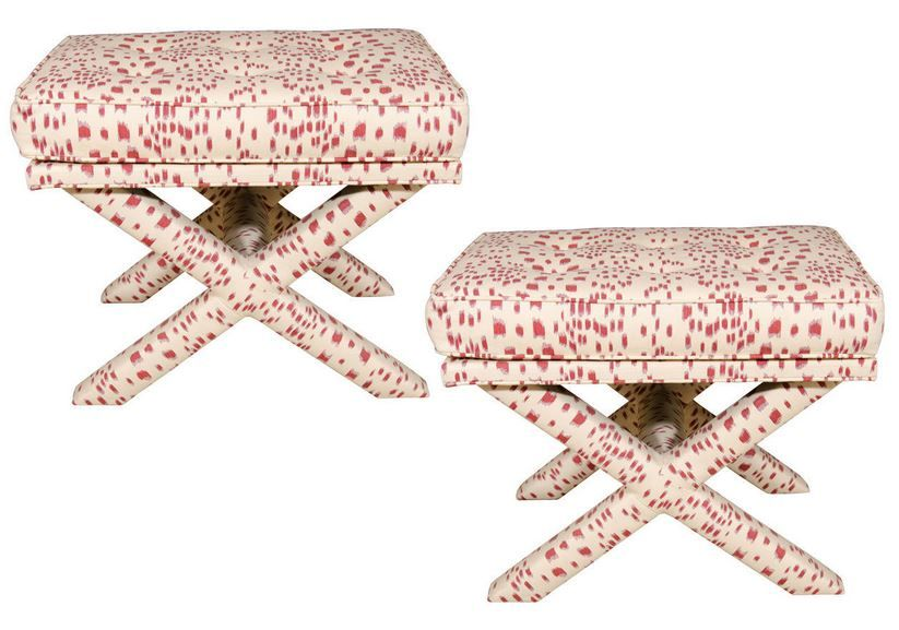 Pair Of Brunschwig Les Touches Red X Bench X Bench Bench Red