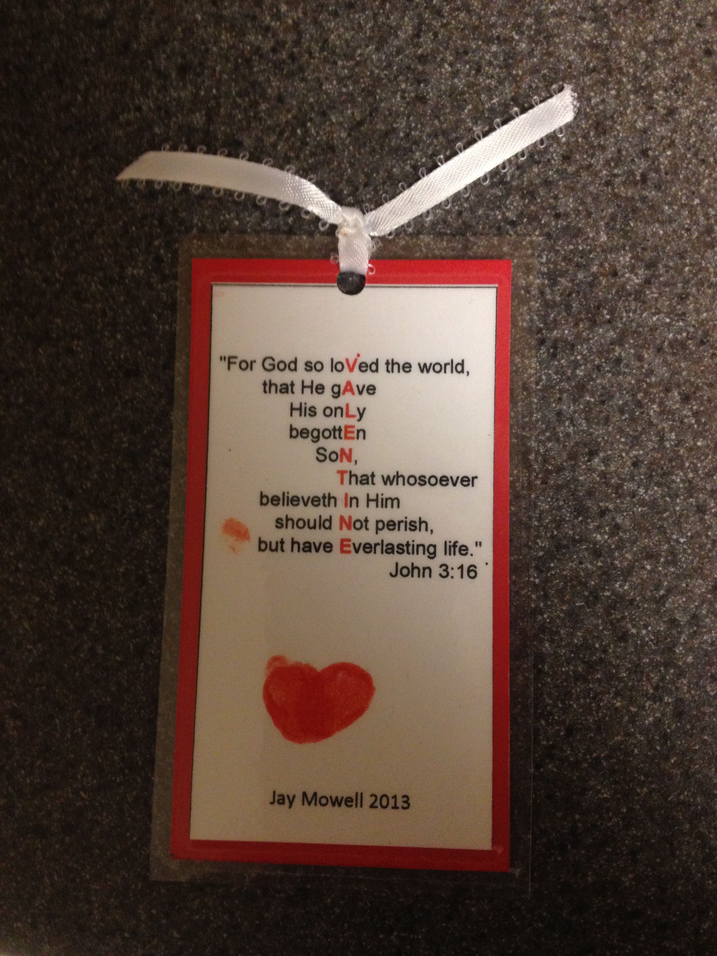Adorable John 3 16 Valentine Bookmark With Thumbprint