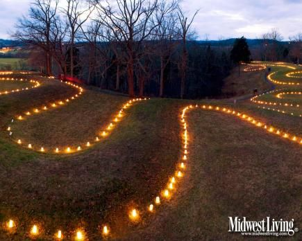 Serpent Mound in Adams County glows with lumninarias when visitors gather to mark the winter sosltice