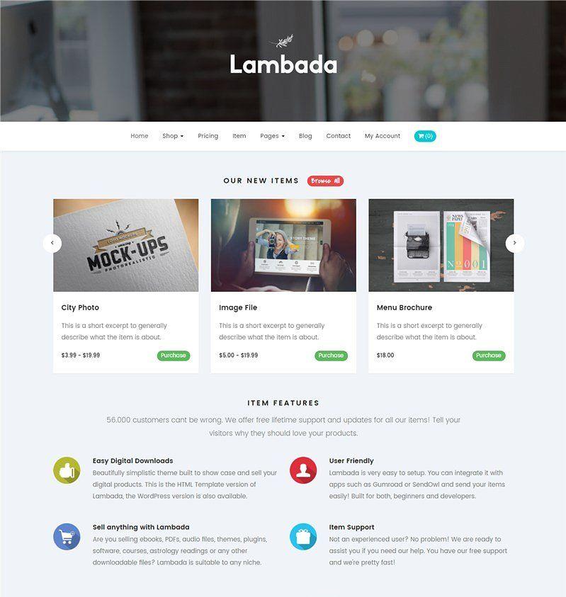 Lambada Html Template Digital Shop Digital Templates Html5 Templates