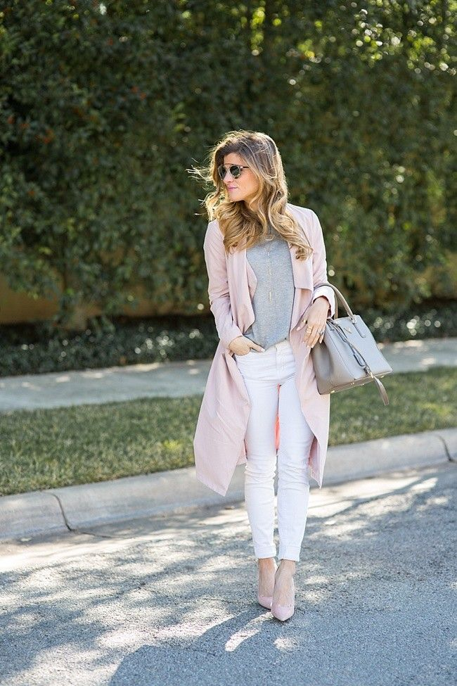 f237dd37b4 @brightonkeller // BrightonTheDay Blog // Blush Duster + White Jeans // spring  jacket outfit // blush outfit // spring outfit ideas