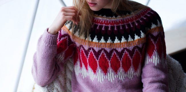 Photo of Northern Lights ladies sweater with round yoke – free knitting instructions
