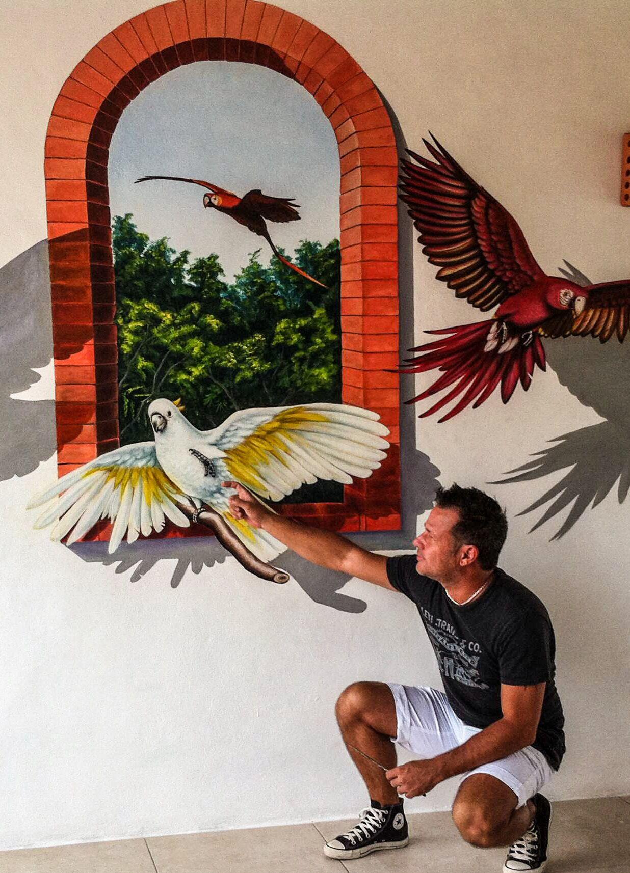 """Mural (detalle) """"Aves""""  Hotel Villas El Encanto Acrílico sobre pared"""