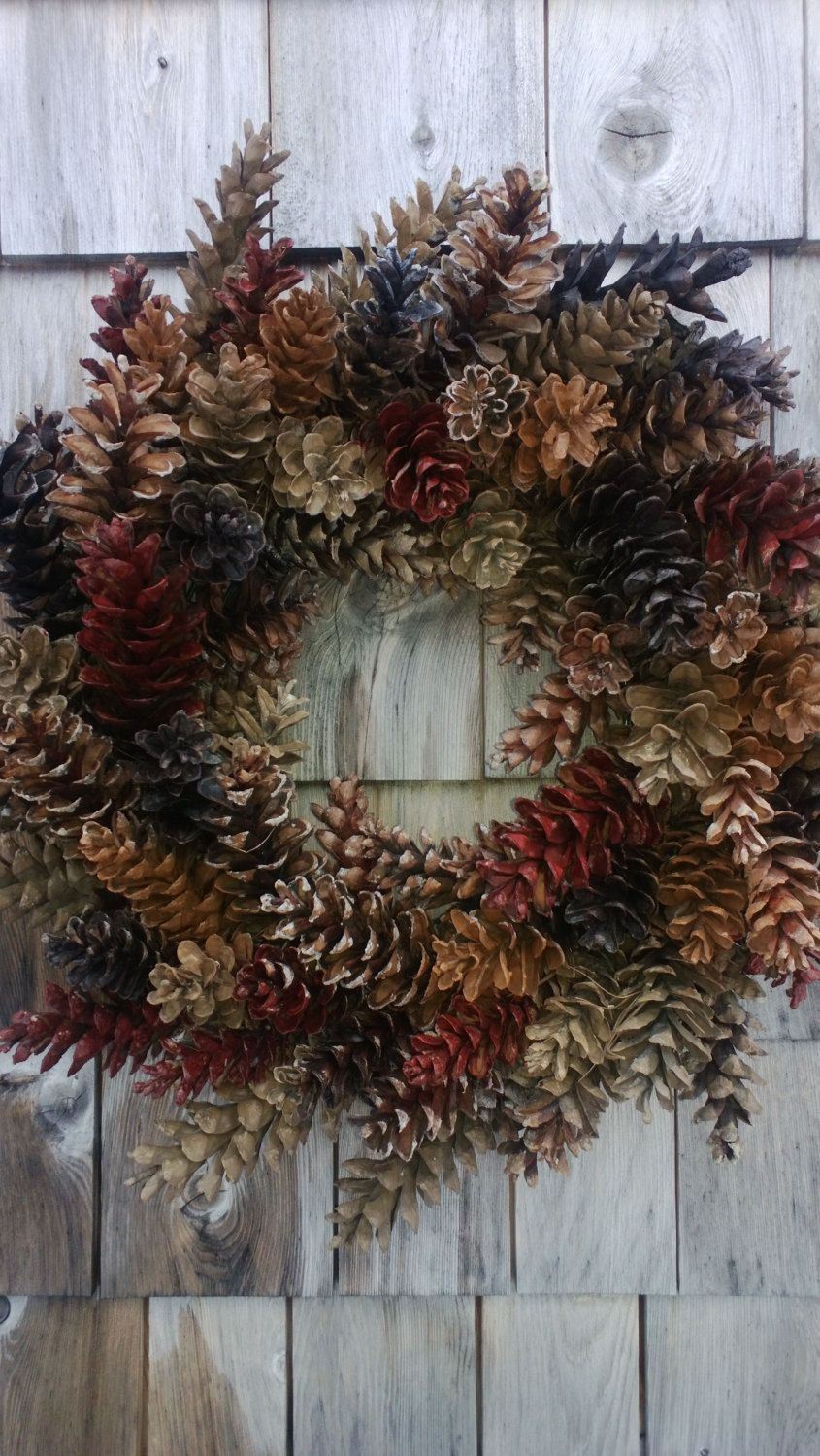 Photo of Pinecone Wreath Natural Browns and Barn red – Holiday Wreath, Christmas Wreath
