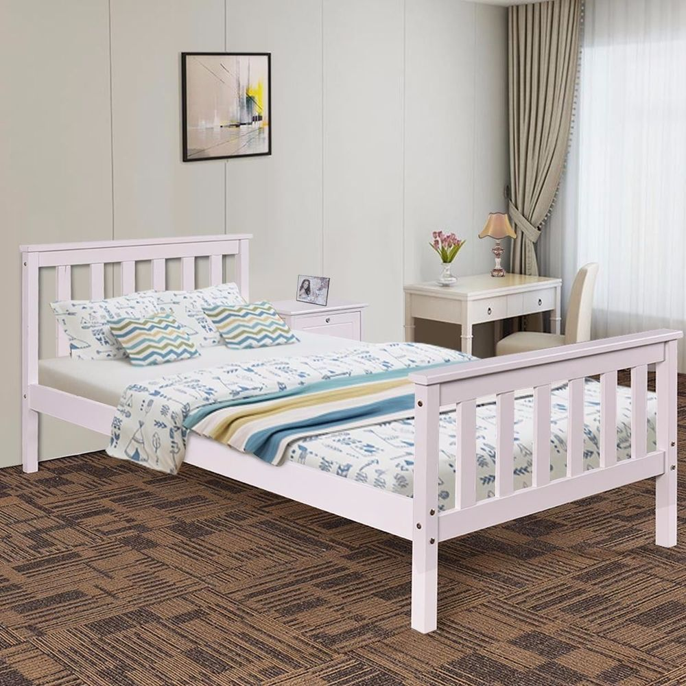 Solid Wooden White Bed No Mattress Bedroom Furniture For Children Single Size Uk