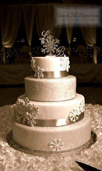 Custom Crystal Snowflake Monogram Wedding Cake Topper  Pinned By Wedding  Specialists Http://dazzlemeelegant.com