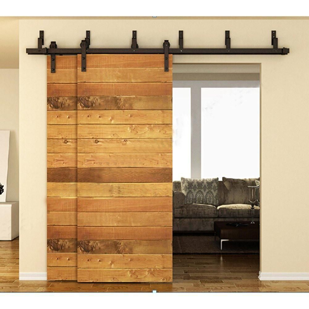 183cm 200cm Bypass Sliding Barn Wood Door Hardware Interior Sliding Door Black Rustic Sliding Track Bypass Barn Door Hardware Barn Door Kit Bypass Barn Door