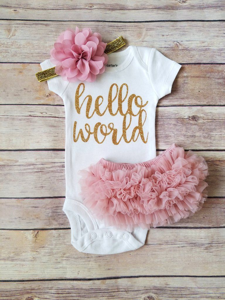 4dc74799da Dusty Pink And Gold Hello World Newborn Outfit Hello World Onesie Coming  Home Outfit Girl