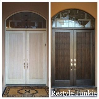 Before and after of pickled oak exterior front doors - How to clean house exterior before painting ...
