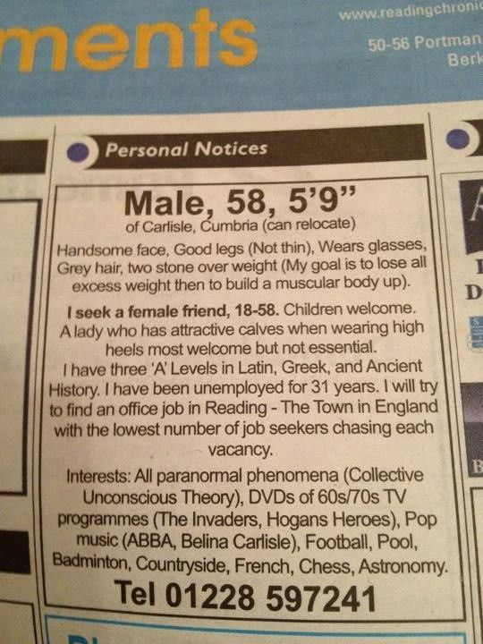 funny newspaper dating ads