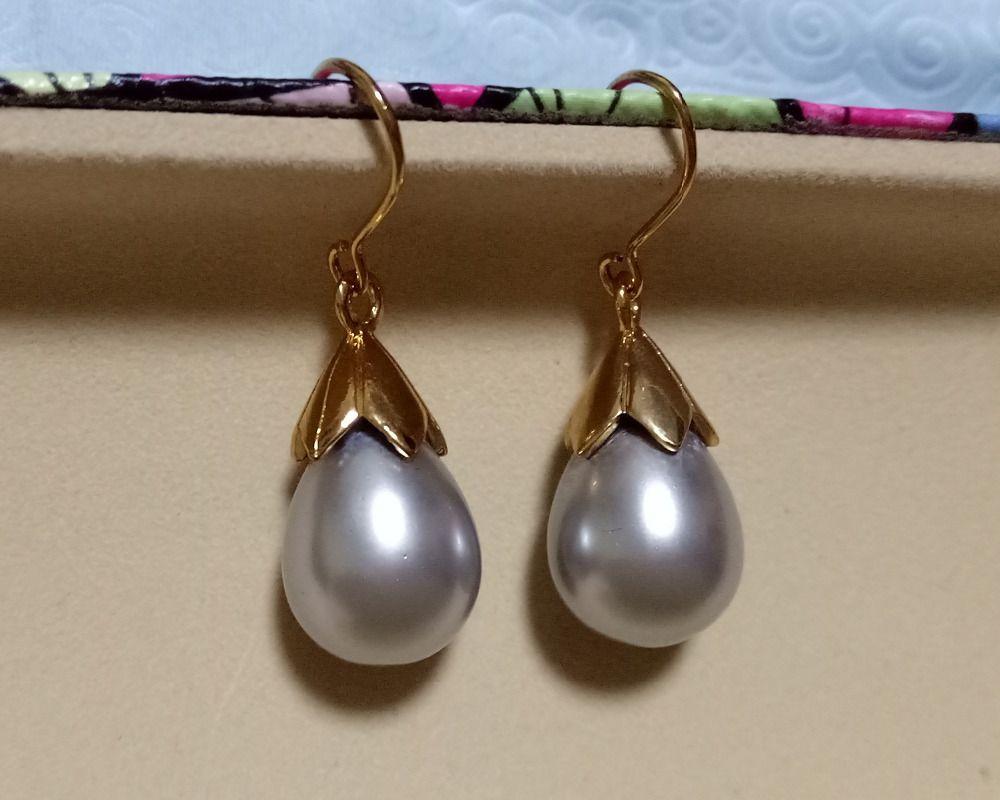 12x16MM white South Sea Shell Pearl Silver Plated Drop Dangle Fashion Earrings