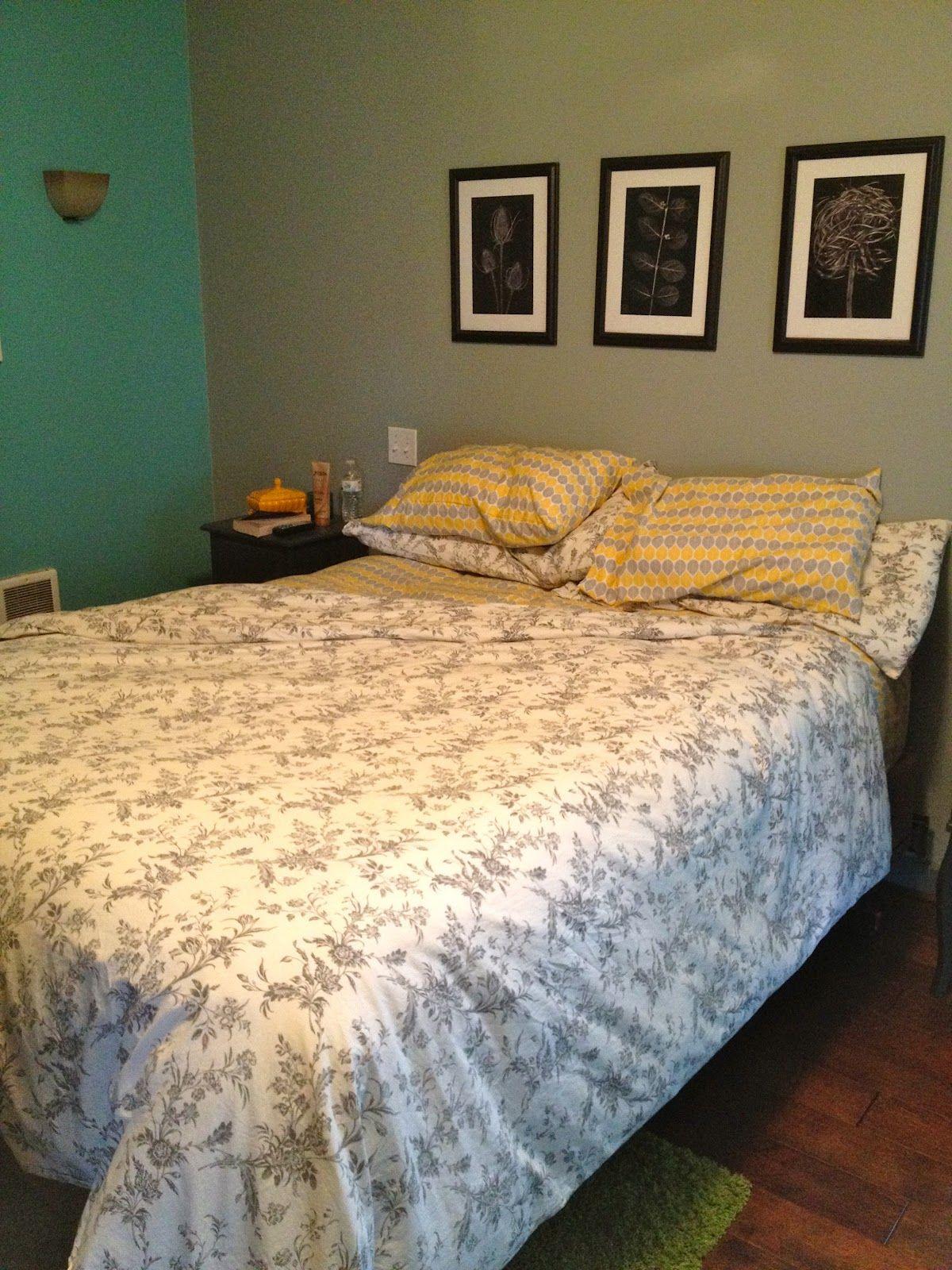 Grey Teal Yellow Bedroom.