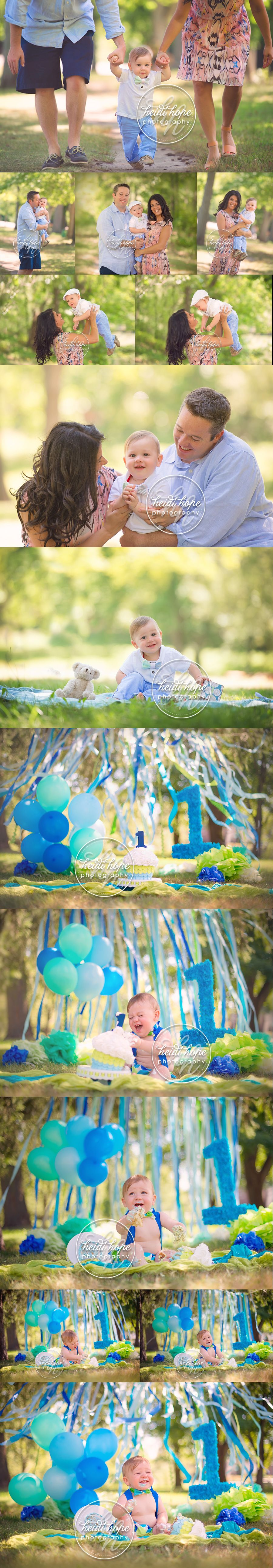 a-blue-and-green-classic-cakesmash-outdoors-at-the-park-by-rhode-island-birthday-photographer