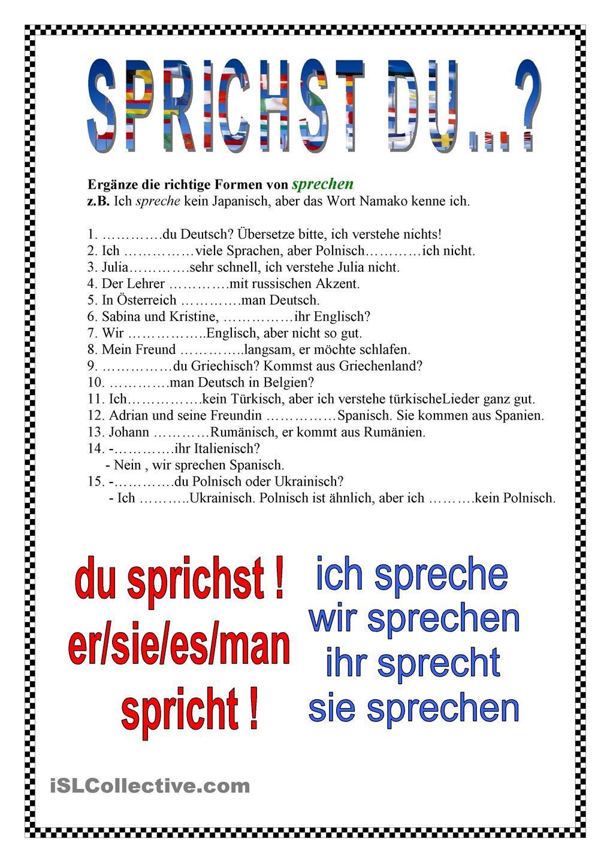 verbkonjugation sprechen deutsch pinterest verben deutsch lernen und deutsch bungen. Black Bedroom Furniture Sets. Home Design Ideas