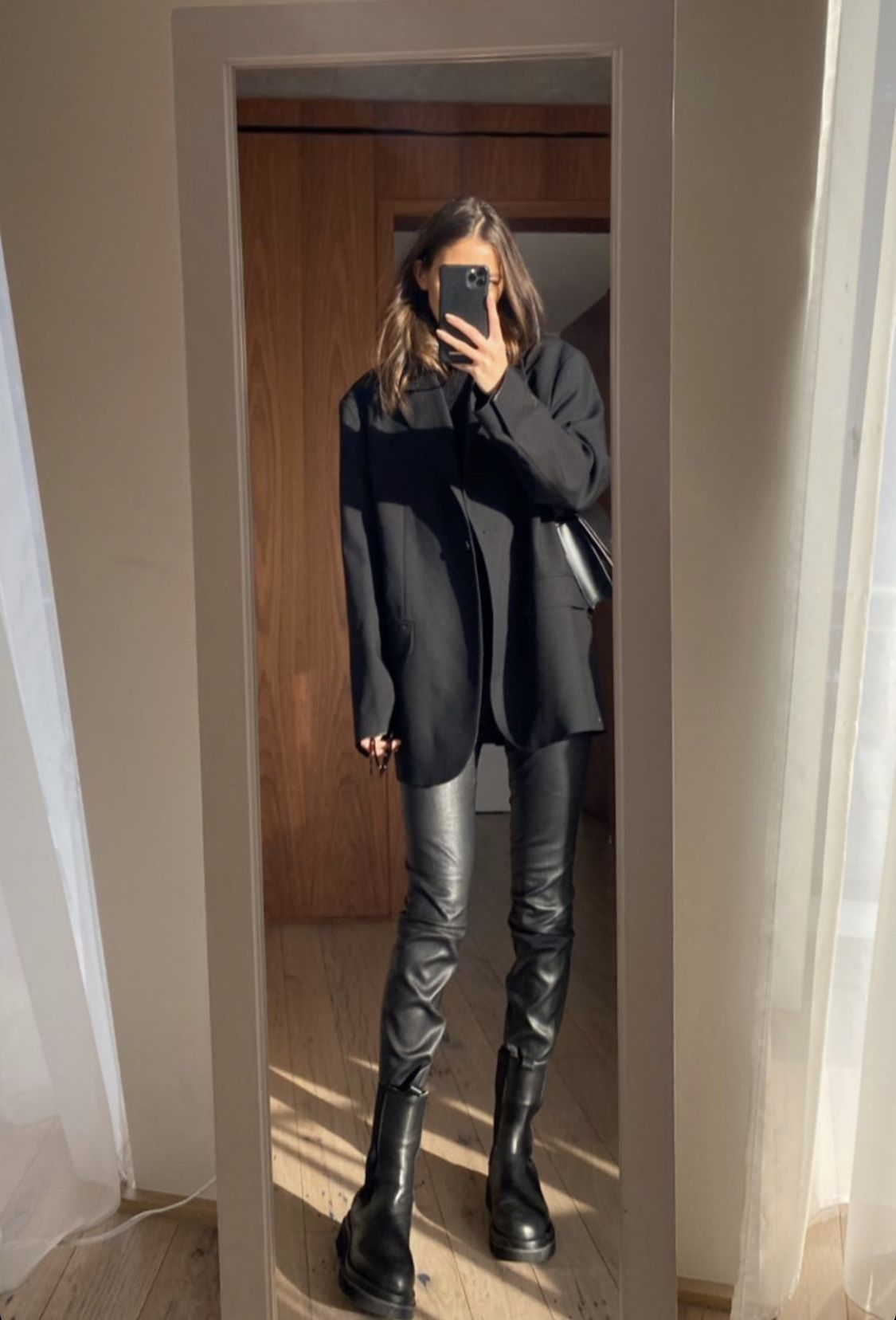 Photo of Total Black Outfit with Leather Pants x Black Blazer