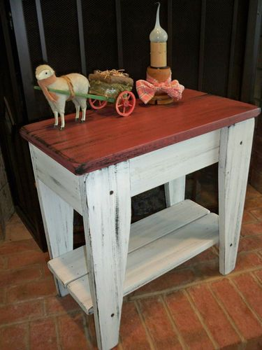 Primitive raspberry painted farm house style table rustic decor country decor ebay