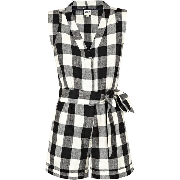 350f71f6b4 WHiT Black   White Check  Palm  Playsuit ( 140) ❤ liked on Polyvore  featuring jumpsuits