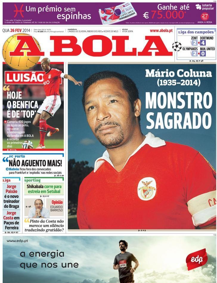 Capa Da Bola 26 02 2914 Morte De Mario Coluna Dortmund Sport Lisboa E Benfica Coluna