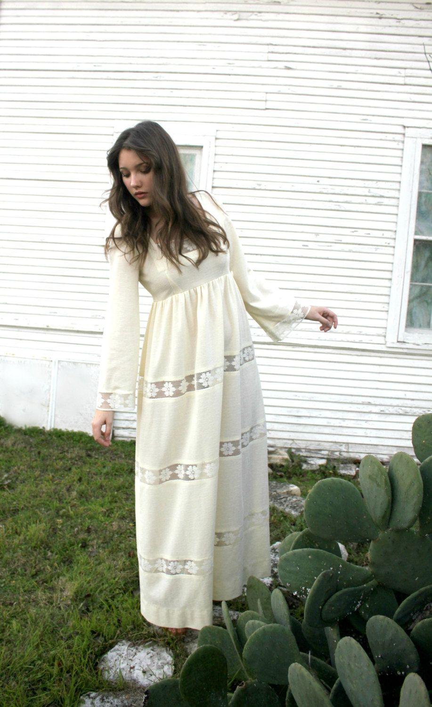 S bell sleeve sheer crème maxi dress empire waist festival