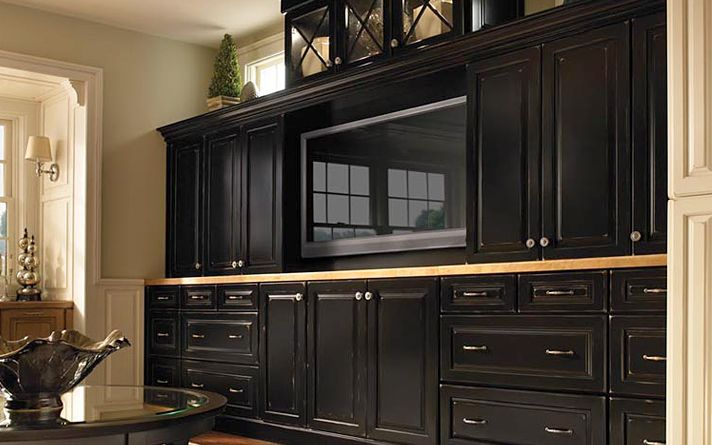 Kraftmaid Black Built In Entertainment Wall Unit For Tv