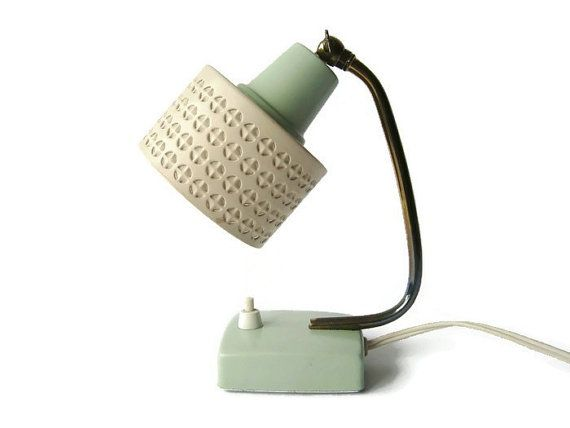 Mid century modern small bedside lamp 50s night by vintagebreda