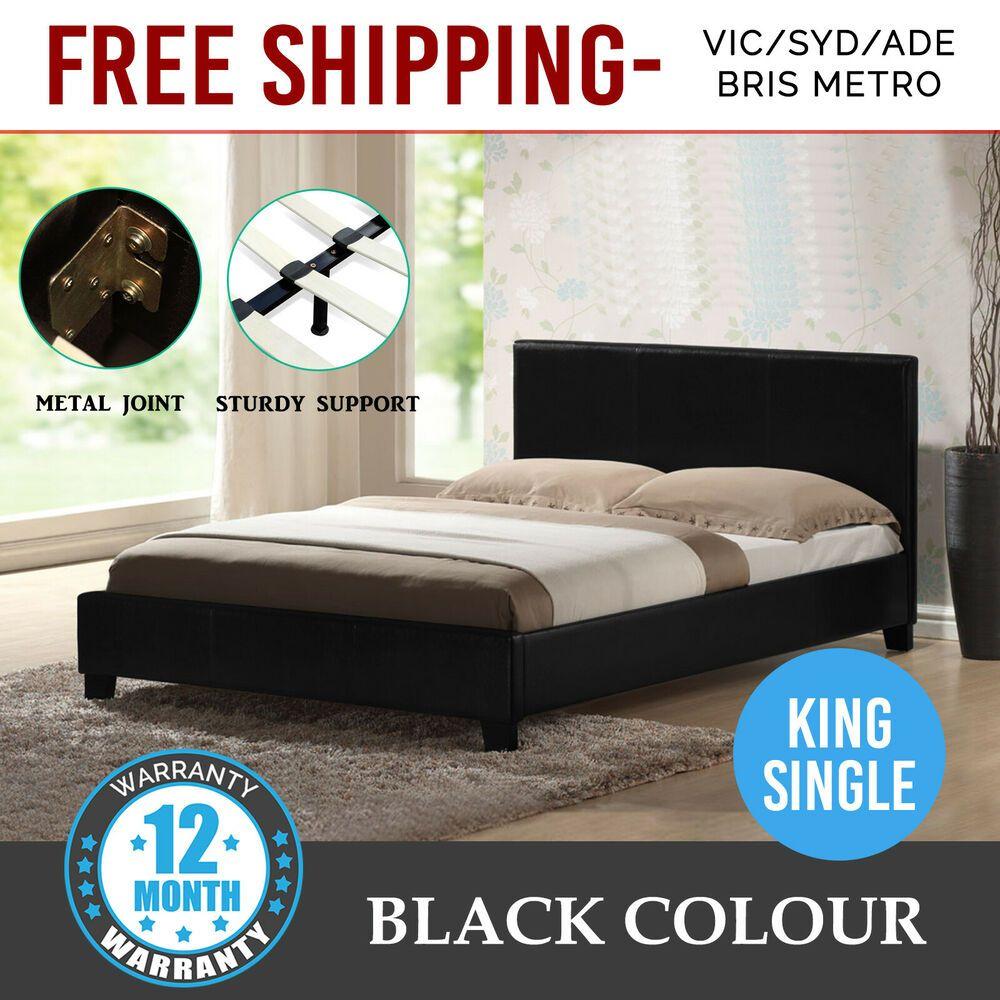 Bed Frame King Single Size Pu Leather Wooden Slat Base High Padded Black Mondeo King Size Bed Frame Bed Frame King Bed Frame