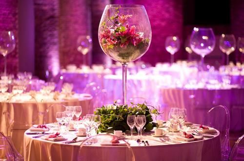 Stunning Wine Themed Center Pieces.  Find the wine glasses at SterlingWineOnline.com,   http://www.sterlingwineonline.com/catalog/item/4352495/baby-grand-red-wine.htm.