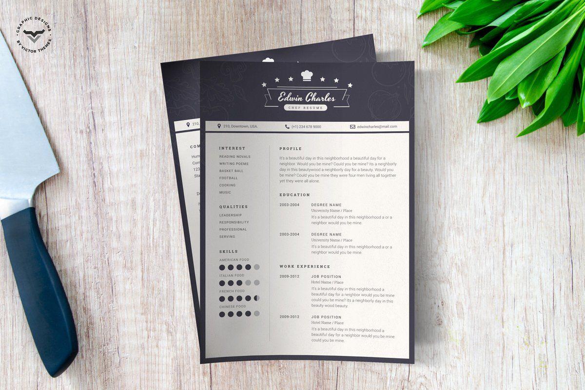 Chef CV Template   Cv template, Templates, Cv design template