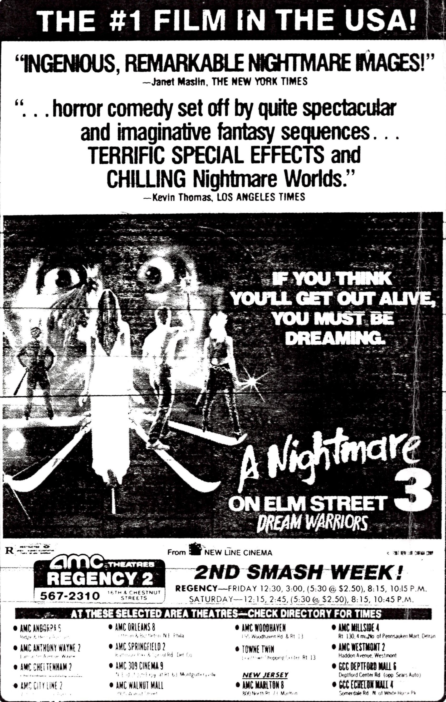 Ad For A Nightmare On Elm Street 3 Dream Warriors From The