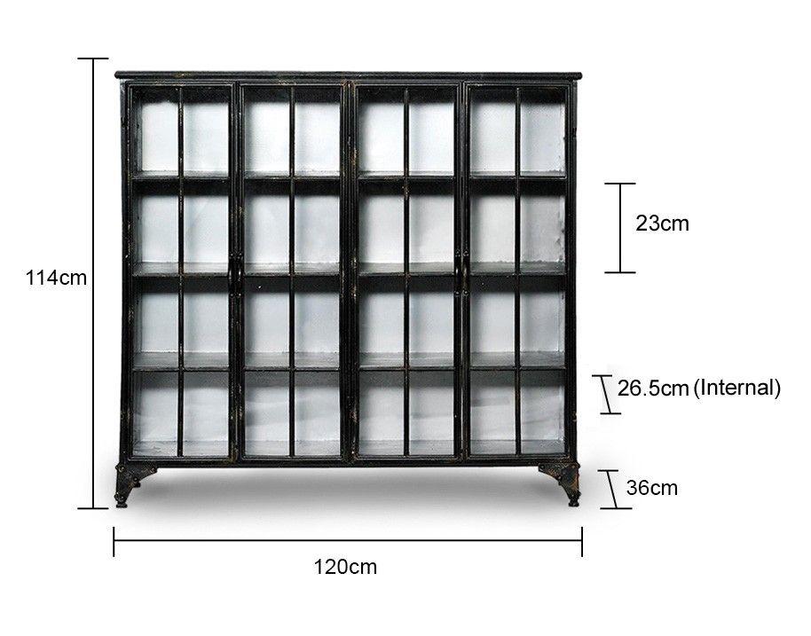 Two Door Display Cabinet in Black is part of Metal Display cabinet -
