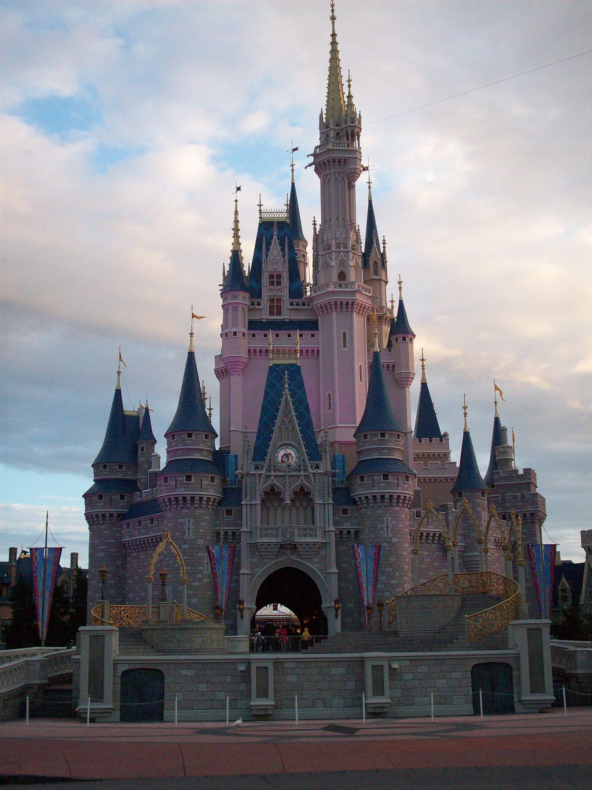 Cinderella's Castle looking very pink.