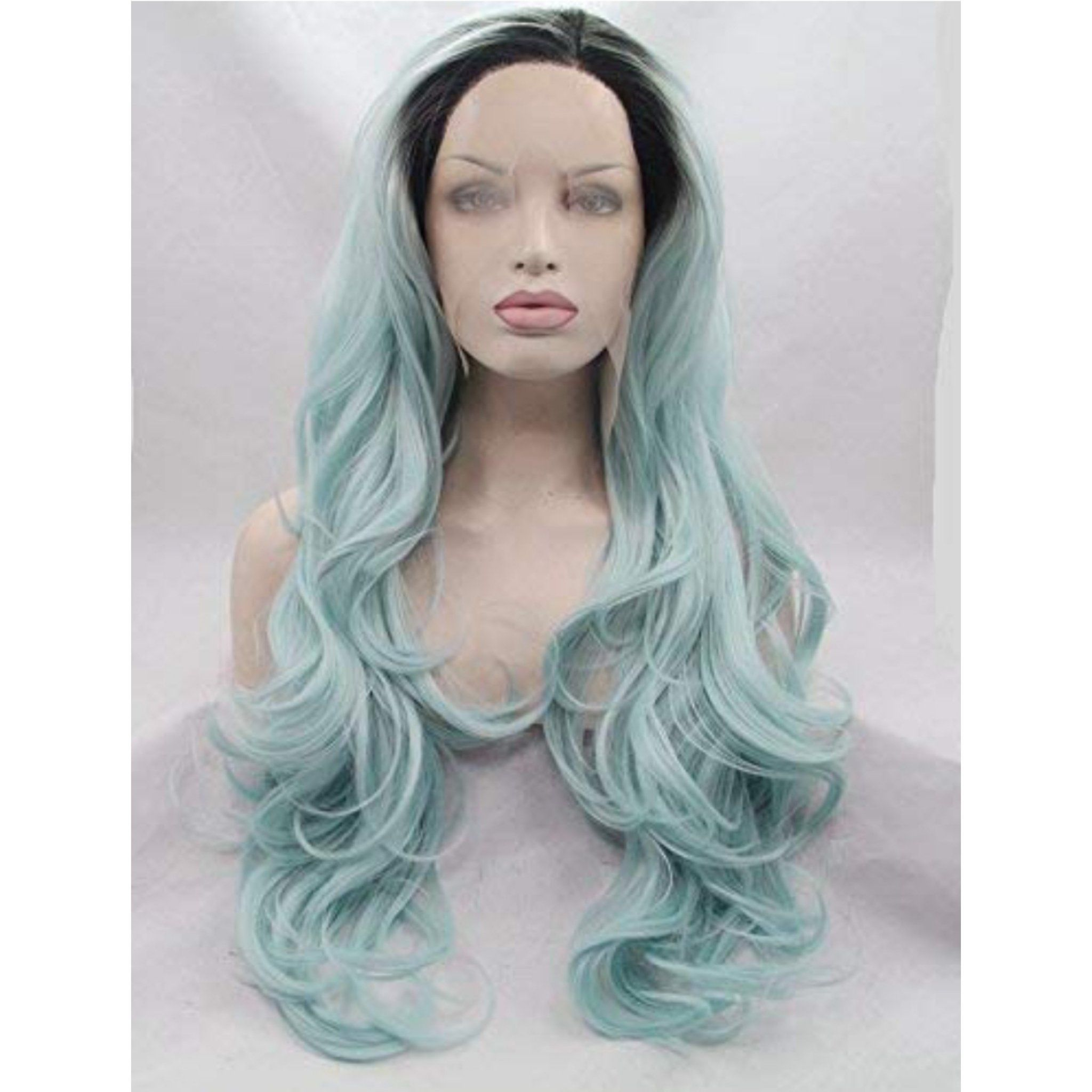 Ombre Blue Beauty Lace Front Wig 2428 inches Synthetic