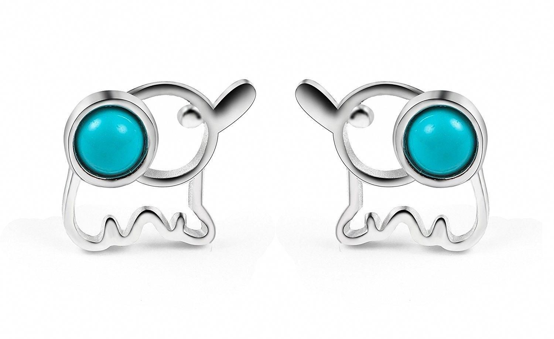 925 Sterling Silver Ear Stud Earrings Lovely Cat Opal Style Women Christmas Gift