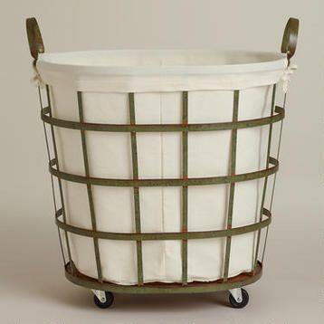 Skyler Metal Rolling Hamper With Images Rolling Laundry Basket