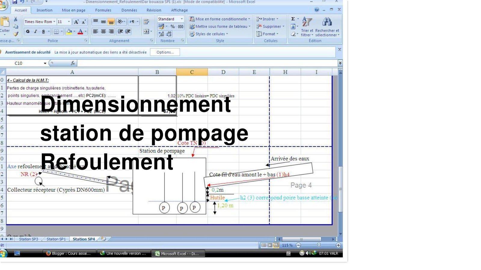 Dimensionnement Station Pompage Type Refoulement Sur Excel Station De Pompage Assainissement Traitement Des Eaux Usees
