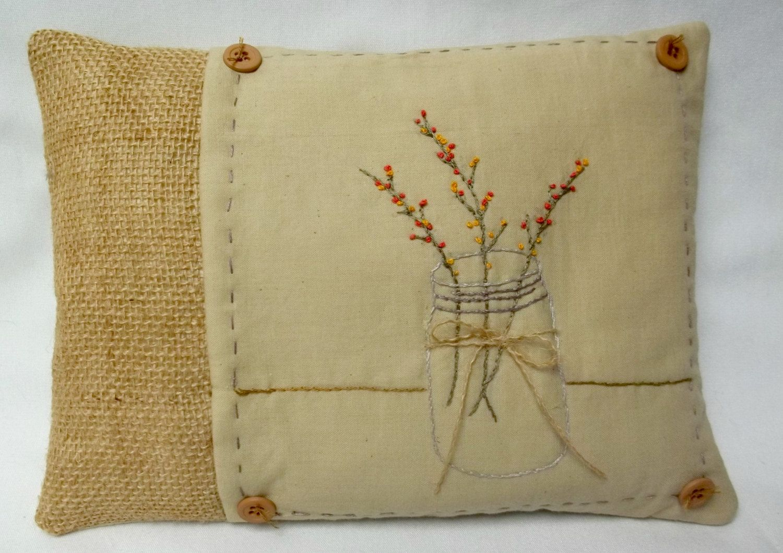 Bittersweet in mason jar embroidered mini pillow rustic burlap